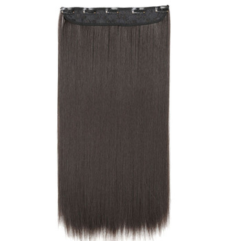MISS WIG Synthetic Clip in Hair Extension 22inch 55cm Long Straight 5 Clip Hairpiece Heat Resistant Black Brown Color screenshot
