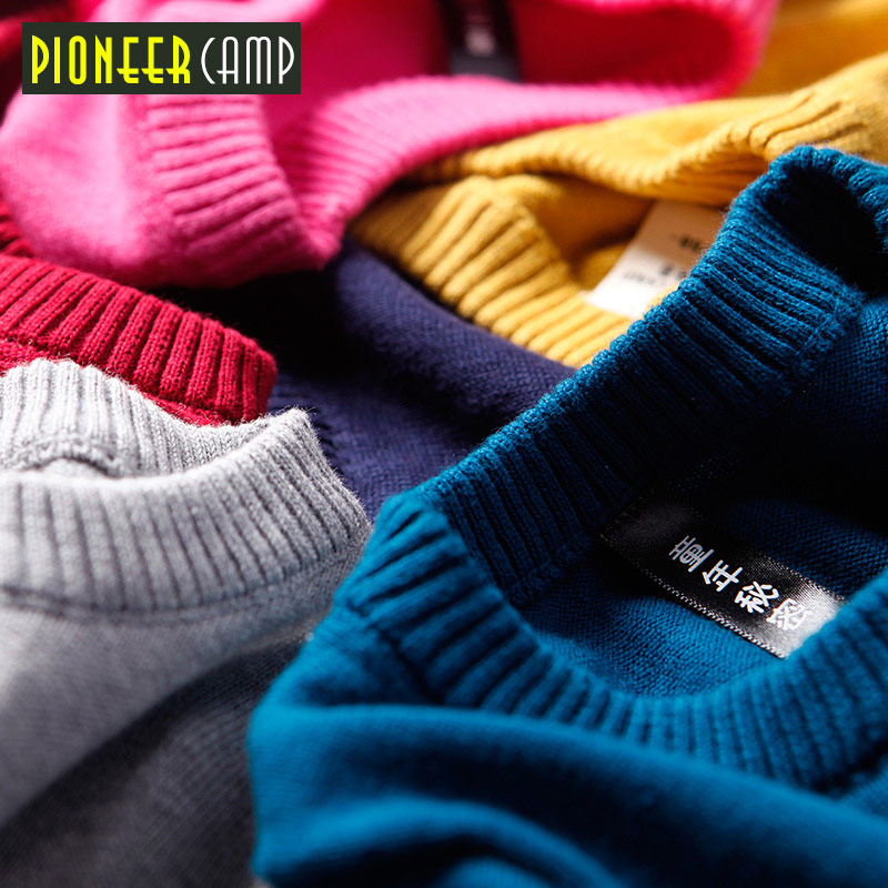 Pioneer Camp Kids 2017 Kids Clothing Baby O-neck Sweater Children New Cotton Stripes Sweater Spring/Autumn Knitted Sweater girl sweater dress superfine wool knitted dress 2015 o neck pocket long sweater tassels christmas children clothing kids dresses