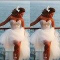 2017 Moda querida tulle/net pérolas frisado branco sopro sexy alta baixa vestido de noiva corset lace up voltar