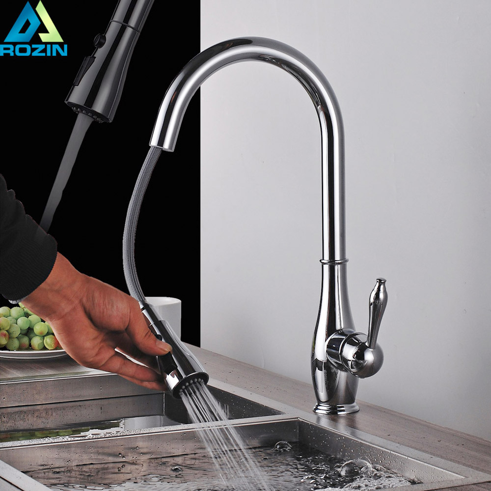 Bright Chrome Kitchen Faucet Pull Out Kitchen Mixer Faucet Single ...