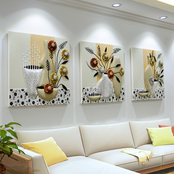 EWAYS 3Pcs/Set Background Wall Decoration 70 x 70 cm Living Room Bedroom Mural Restaurant Frameless Paintings 3D Painting