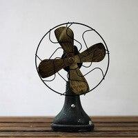 Resin Antique Imitation Electric Fan Model Handmade Iron der Ventilator Figurines Home Decoration Crafts