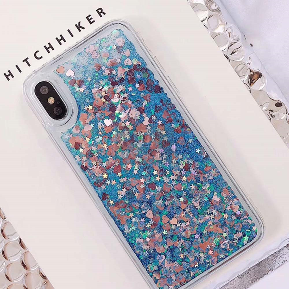 HTB1R6TwXOLrK1Rjy1zdq6ynnpXa6 - QINUO Love Heart Glitter Phone Case For iphone 11 Pro Max X XR XS MAX 6S 6 7 8 5 5S SE Liquid Quicksand Bling Sequin Cover
