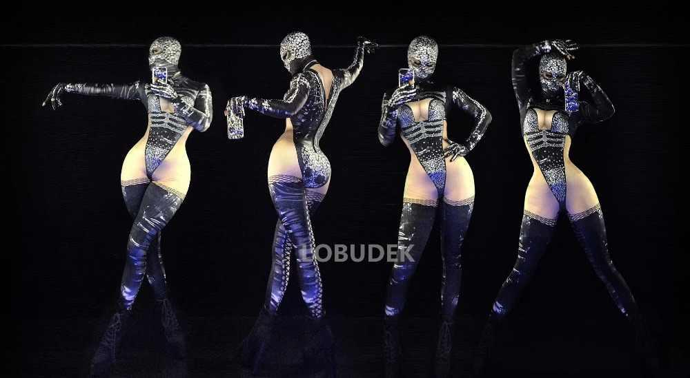 クリスタル石ジャンプスーツノベルティ 3D プリントスキニーボディスーツストレッチレギンス男性女性ナイトクラブ DJ ポールダンス衣装