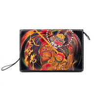 Advanced Customization Men Vegetable Tanned Leather Carvings SHUNWUKONG Bag Clutch Purse Cigarette Pocket Clutches Envelope