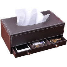 Fashion multifunctional tissue pumping box leather drawer desktop storage table napkin