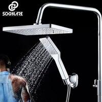 SOGNARE Chrome Polish Square Shower Head+Hand Shower ABS Plastic Water Saving HandHeld Rain Shower Head Over head Shower Sprayer