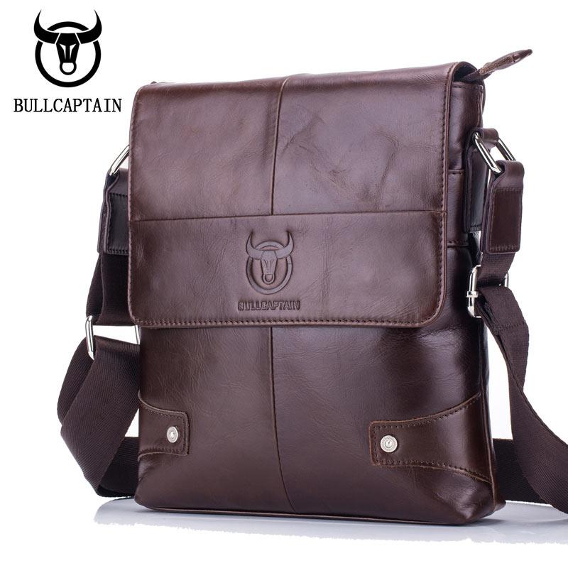 8ab84cfc3e61 Bullcaptain 2018 new hombres Genuine Leather Message Bag brand Business  Vintage Shoulder Casual Crossbody Bag For Men Handbags