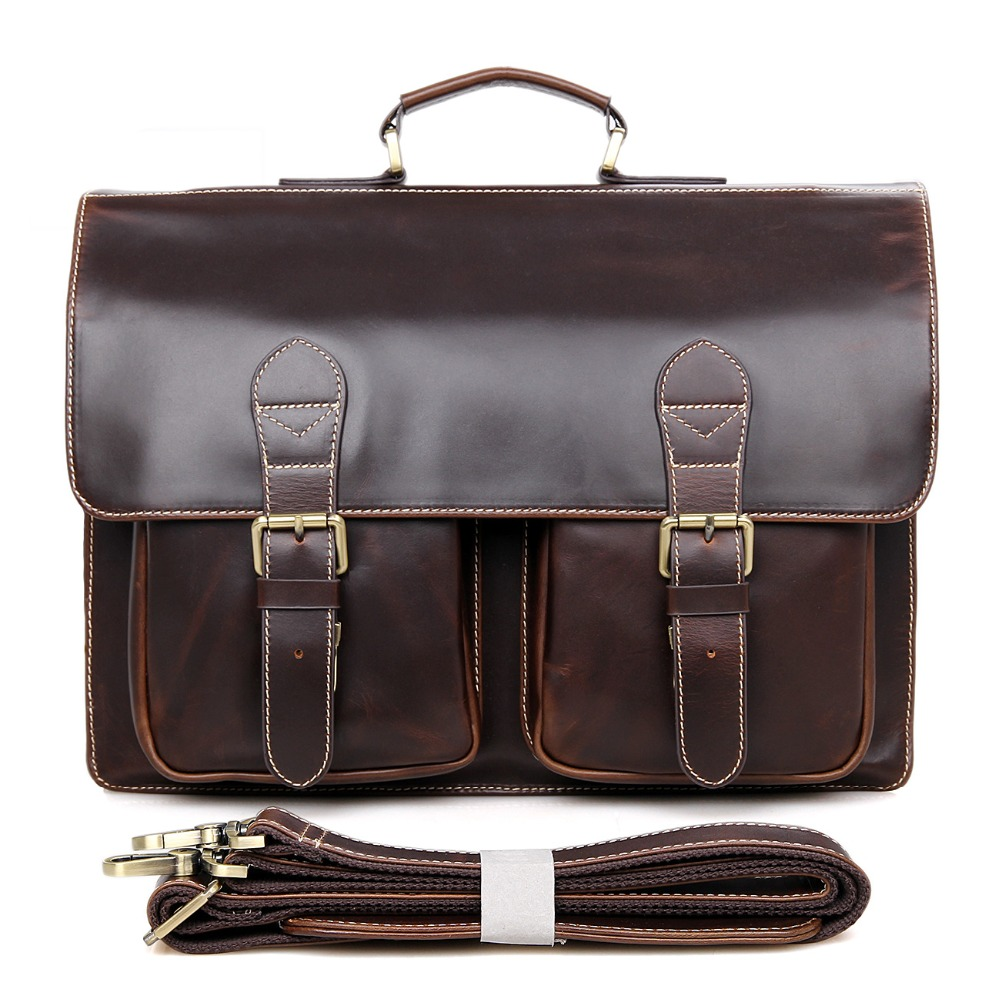 J.M.D Rare Vintage Cow Leather Laptop Bag For Man Briefcases Men's Dispatch Messenger Bag 7105Q