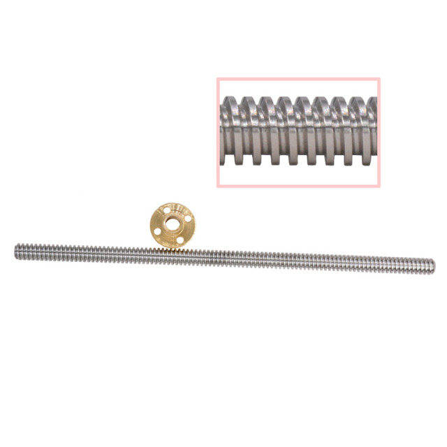 T8 8mm Lead Screw Pitch 2mm Lead 2mm 150 200 300 350 400 500 600 1000 1200 mm with Brass Nut For CNC 3D Printer