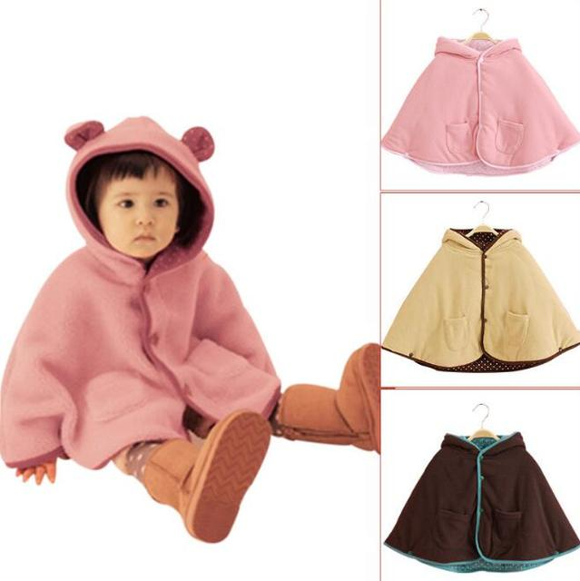 Winter Baby Jacket Children Ears Cloak Kids Hoodies Outerwear Girl Winter Thick Poncho 3 Color For 0~2 Years Baby