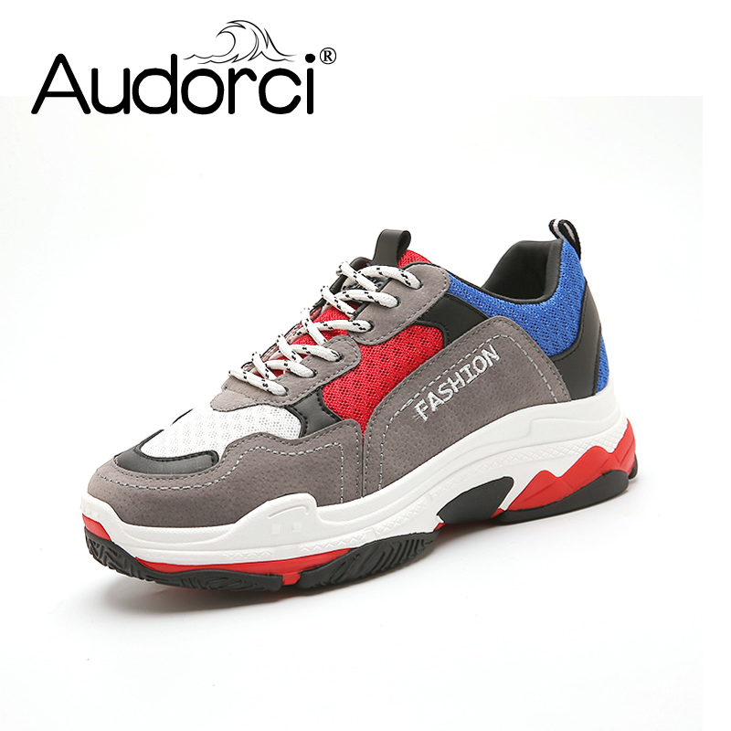 Audorci 2018 Spring Fashion Clunky Sneakers Casual Shoes Women Lace Up Flats Shoe Woman Outdoor Walking Shoes Size 35-40 glowing sneakers usb charging shoes lights up colorful led kids luminous sneakers glowing sneakers black led shoes for boys