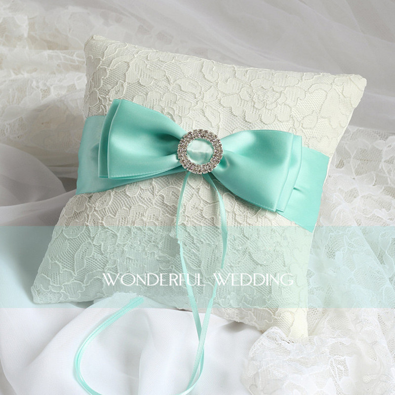 Handamde Romantic Tiffany Blue Wedding Ring Pillow Bowknot Ring