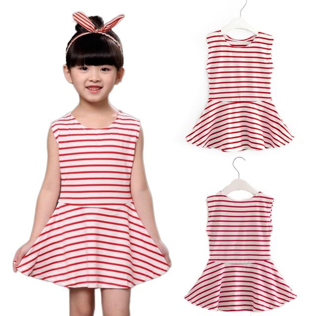 72095ed6d72f3 Hot Sale!2018 Baby Girl Clothes Summer Casual Dress Kids Children Vest  Stripe Sleeveless Cute Cotton Girls's Clothing Dress