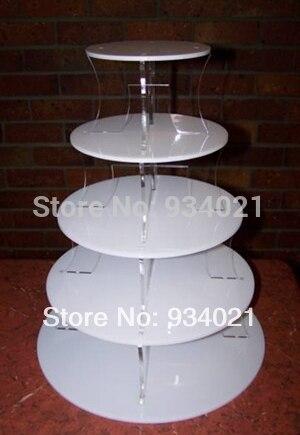 5 Niveau Blanc Acrylique Gâteau Stand, acrylique Cupcake Stand