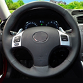 Black Artificial Leather DIY Hand-stitched Steering Wheel Cover for Lexus is250 Car Special