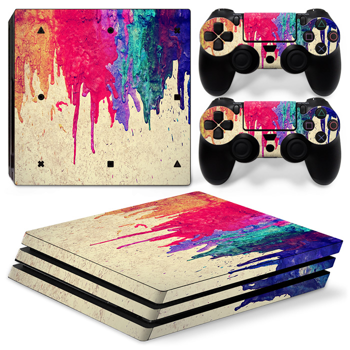 free drop shipping Protective Colorful Style Skin Sticker for PS4 Pro Console and Two Controller Covers #TN-P4Pro-1306
