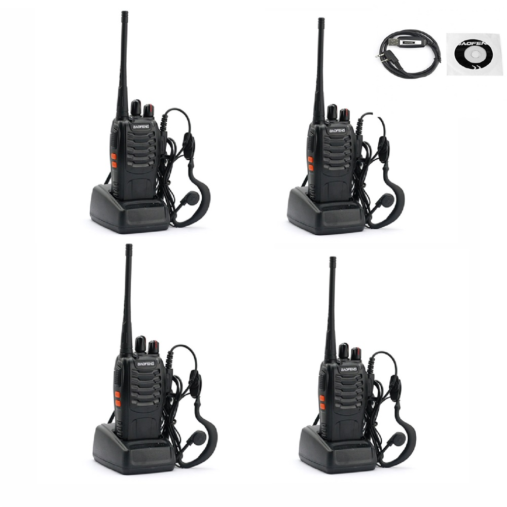 4PCS two way radios Baofeng BF-888S + 1 PC programming cable