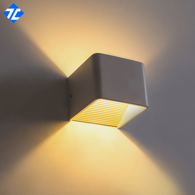 2PCS 100x80x100mm Modern Headboard Light LED Bedside Lamp Wall Mount Hotel Lighting  Up Down Wall Sconces Indoor 5W Square In Wall Lamps From Lights ...