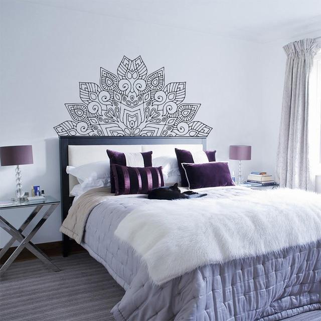 New Arrival Mandala Flower Beds Headboard Vinyl Sticker Lotus Boho