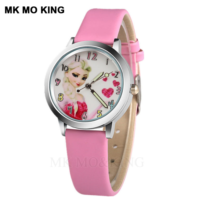 Elsa Anna Princess Cute Cartoon Boy Sports Hand Casual Quartz Student Girl Children Holiday Gift Clock Bracelet Relojes Saat
