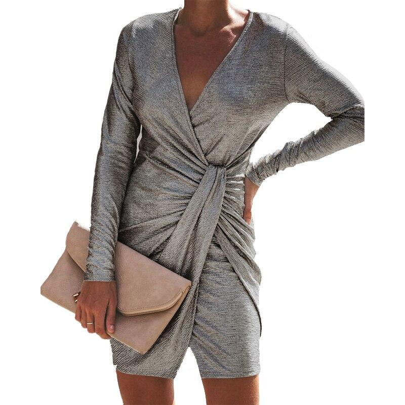 Overlap Waist Women Dresses V Collar Sexy Slim Ladies Dress 2018 Autumn New Fashion Long Sleeved Asymmetry Female Mini Vestidos