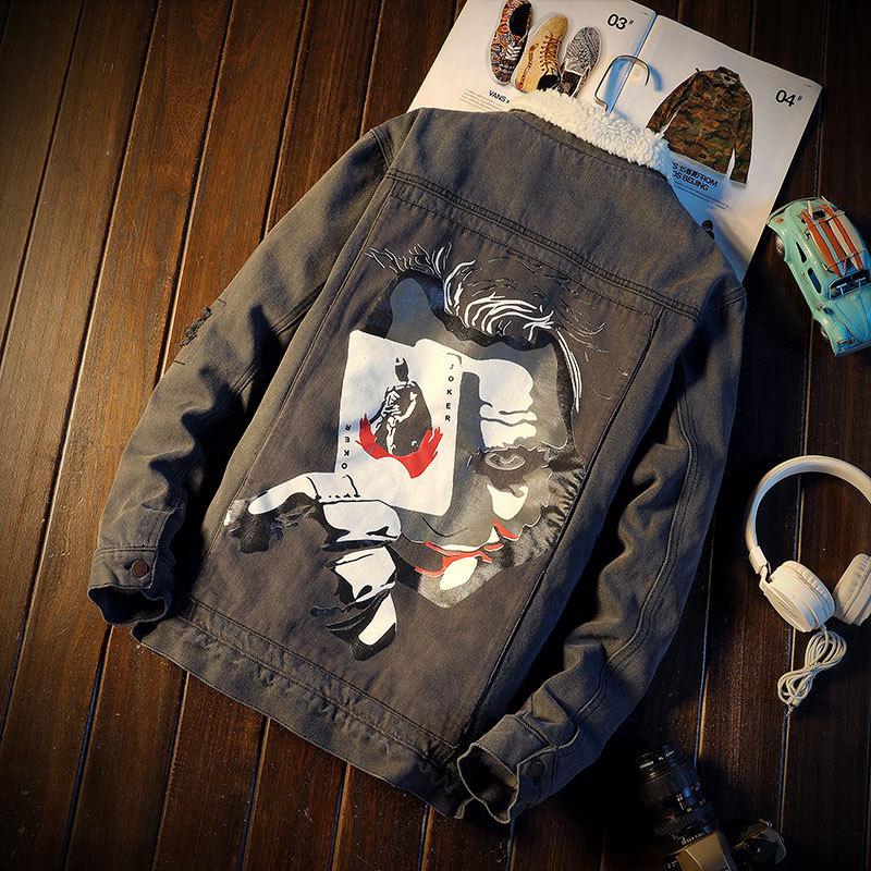 Winter Fashion Men Jacket Big Size M-5XL Patch Design Printed Denim Jackets Men Thick Velvet Coat Streetwear Hip Hop Warm Jacket