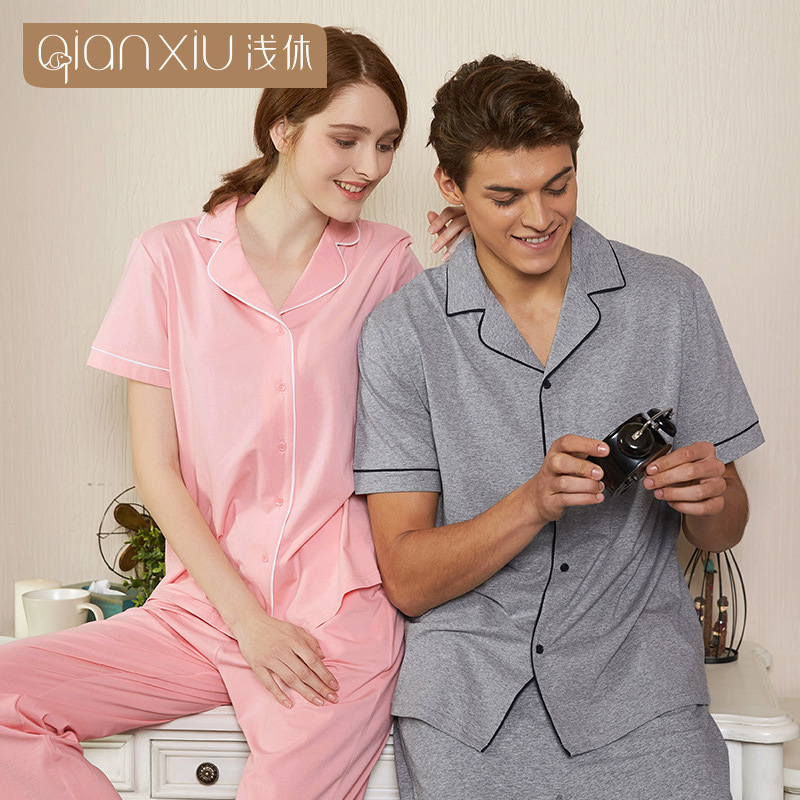 High Quality 2019 Spring Men Pajamas Half Sleeve Male Pajama Set Couple Cotton Pajamas For Lovers Sleepwear Suit Homewear