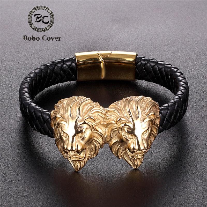 2019 New Punk Stainless Steel Genuine Leather Bracelet Men Gold Lion Wristband Charm Bracelets Bangles Luxury Jewelry Pulseras