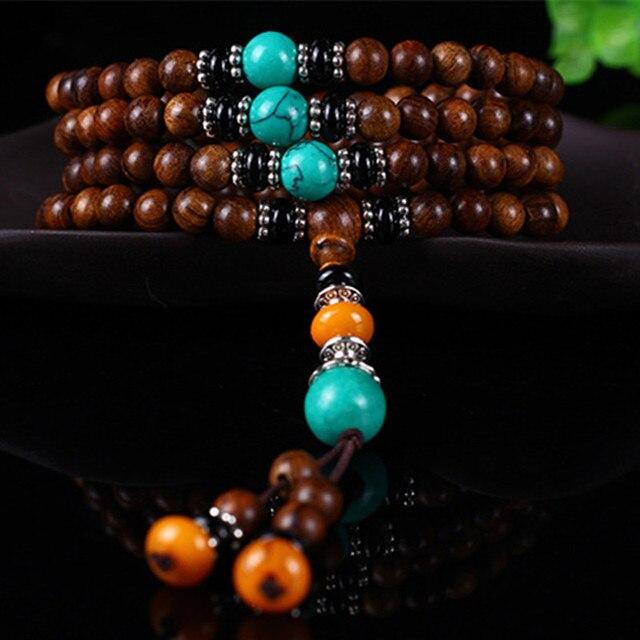 cc029c4882cb Sennier 8mm108 tibetano budista oración japa mala pulsera onda pera madera  del estiramiento pulseras brazalete del
