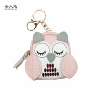 Owl coin purses women wallets small mini cute cartoon card holder key headset money bags for girls ladies purse pink green blue