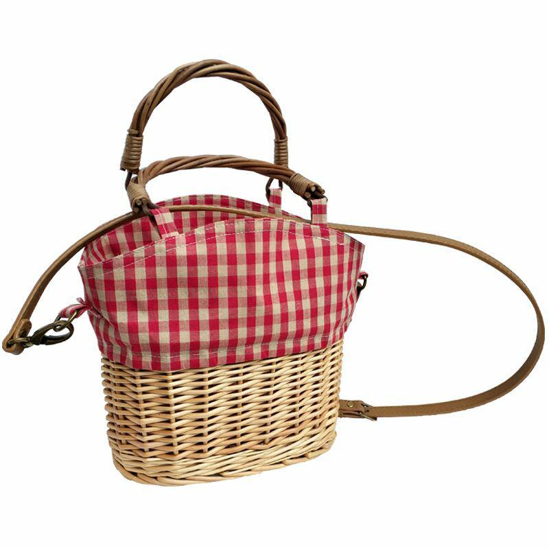 New straw knitting holiday handbag straw rattan red plaid canvas splicing shoulder bag Woven Crossbody Basket bag With Capacity shoulder bag