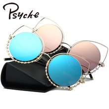 2017 New Women Sunglasses Vintage Cat Eye Sun glasses Fashion Metal Eyeglasses Frames New Mirror Shades Sexy Sunnies UV400 X2192