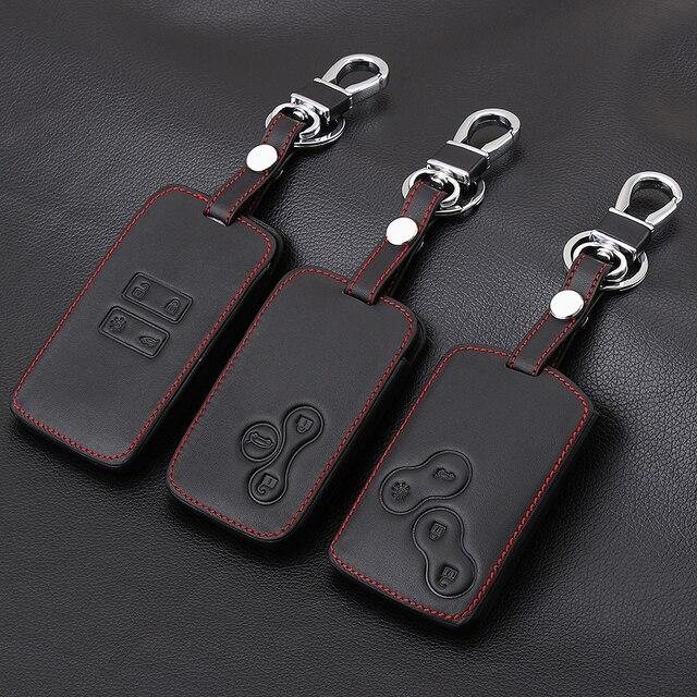 Thie2e Funda de cuero para llave de coche, cubierta de diseño de coche para Renault Kadjar Clio Logan Megane 1 2 3 Koleos tarjeta Scenic Keychain Case
