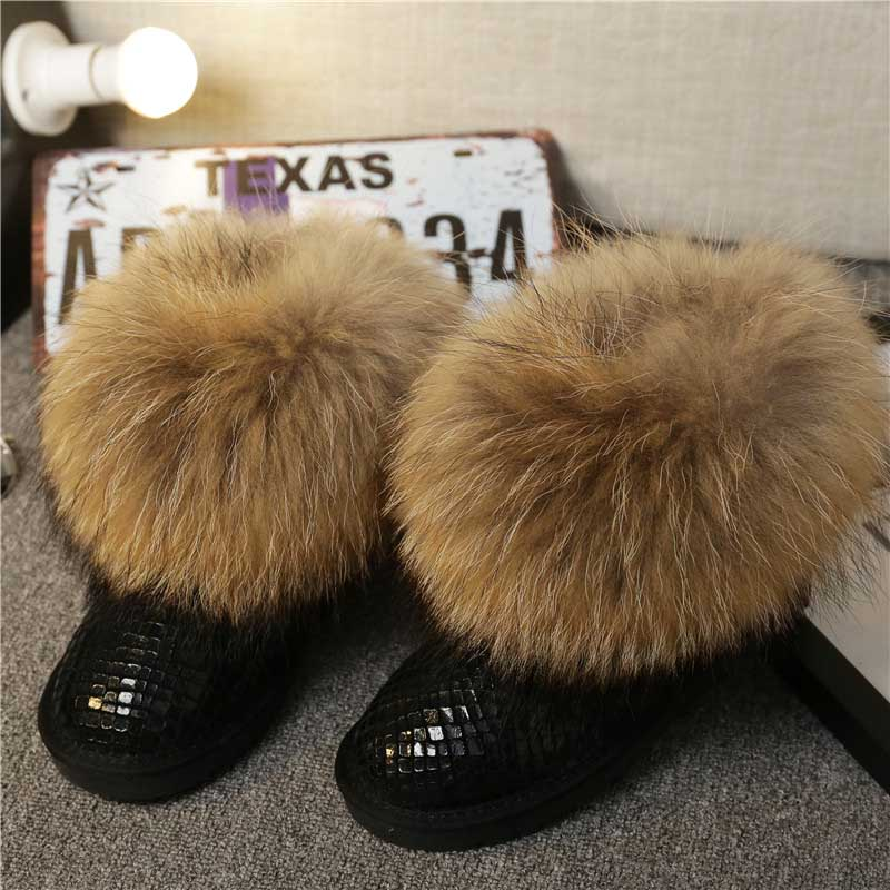 High Quality Women Natural Real Fox Fur Snow Boots Genuine Sheepskin Leather Fashion Women Boots Warm Female Winter Shoes