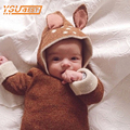 New Fashion Cute Cartoon Deer Ear Knitted Baby Hooded Sweaters For Boy Girls Infant Sweater Autumn Winter Clothes Zipper Coat