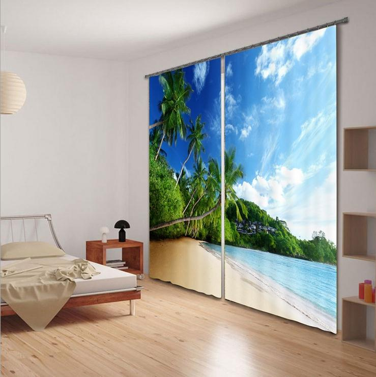 Superior Quality Beach Coconut Tree 3D Printing Sunshade Window Curtain For  Office Bedroom Living Room Drapes Scenery Cortians