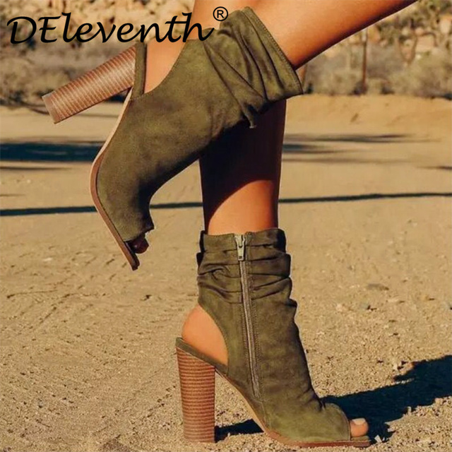 1338b65aac4 DEleventh new spring women s shoes 2019 peep toe booties high heels woman  shoes ankle boots zipper