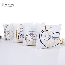 Fuwatacchi Easter Cushion Cover Decorative Letter Pillow Case Black Gold Foil Cases Sofa Seat Car Christmas Pillowcases