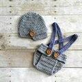 Newborn baby outfit sombrero y cubierta del pañal set babero 0 - 3 M Newborn fotografía atrezzo bebé pantalones del babero del traje