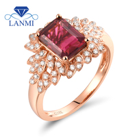 Solid 18K Gold Rings For Women Emerald Cut 6x8mm Natural Tourmaline Rings For Birthday Gift SR0333