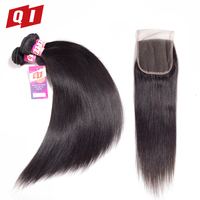 QI Hair Straight 3 Bundles With 4 4 Lace Closure 100 Peruvian Human Hair Non Remy