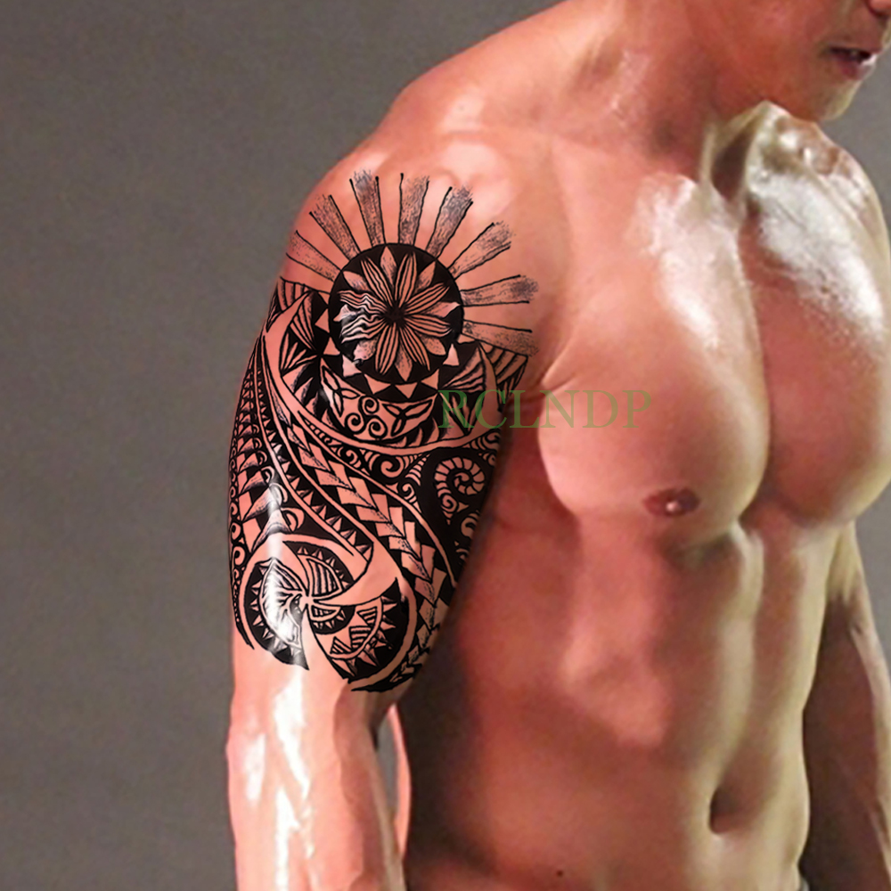 Waterproof Temporary Tattoo Stickers Tribal Totem Fake Tatto Flash Tatoo Body Art Back Leg Arm Belly Big Size For Women Men Girl