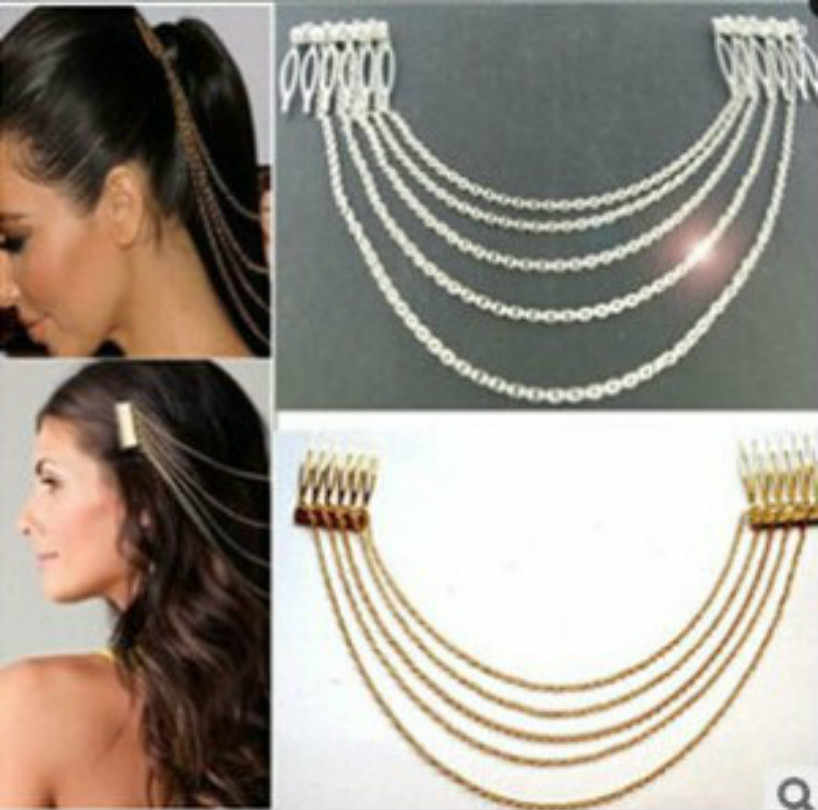 Fashion Jewelry Women's Hair Accessories Punk Headdress Long Metal Chain Hair Comb Silver Chain Fringed Long Sleeve Hair Band