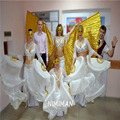 2016 Новые поступления Женщин Китайский Белый Танец Живота Вентилятор Завесы Пара на Продажу 180*90 см NMMV1007