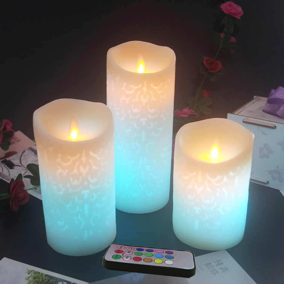 3pcs/set wireless remote led wax candle with multiple led light color changing,wedding led candles/christmas decoration for home