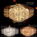 2016 Nova Chegada De Ouro De Quartzo Dos Homens Das Mulheres Relógio de Genebra Relógios de Pulso de Luxo Diamante Senhoras de Aço Inoxidável Masculino Montre Homme Femme