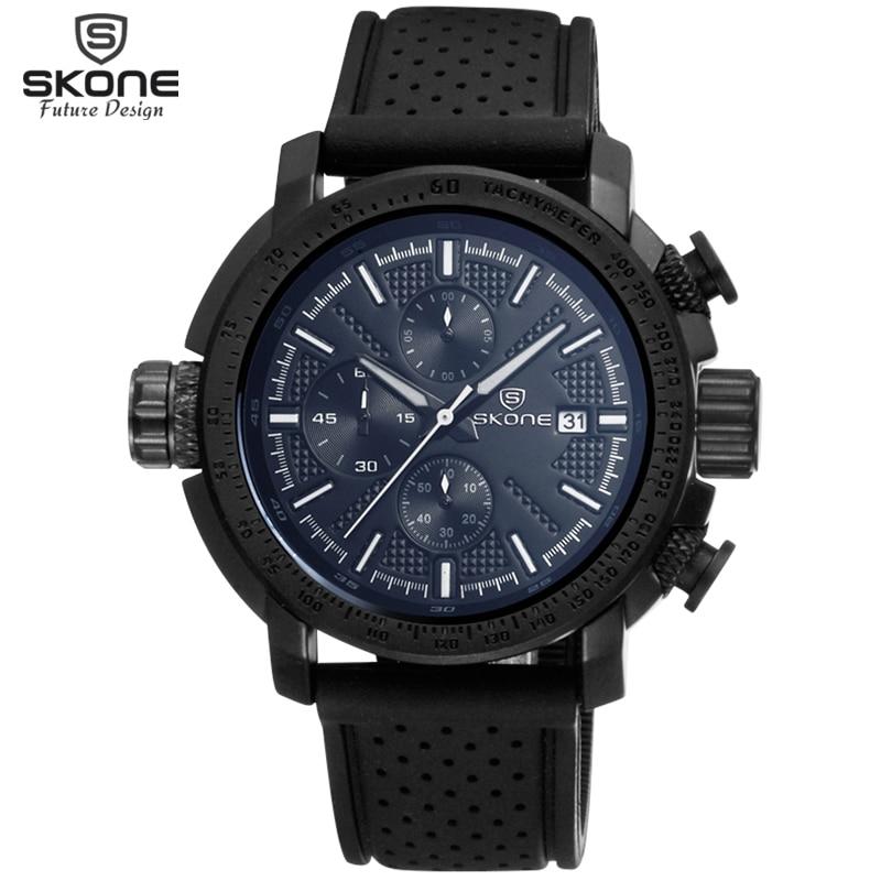 SKONE Brand Sub Dial Multifunction Silicone Strap Sport Watches Men Date Chronograph Quartzwatch Hours Casual Relogio Masculino skone relogio 9385