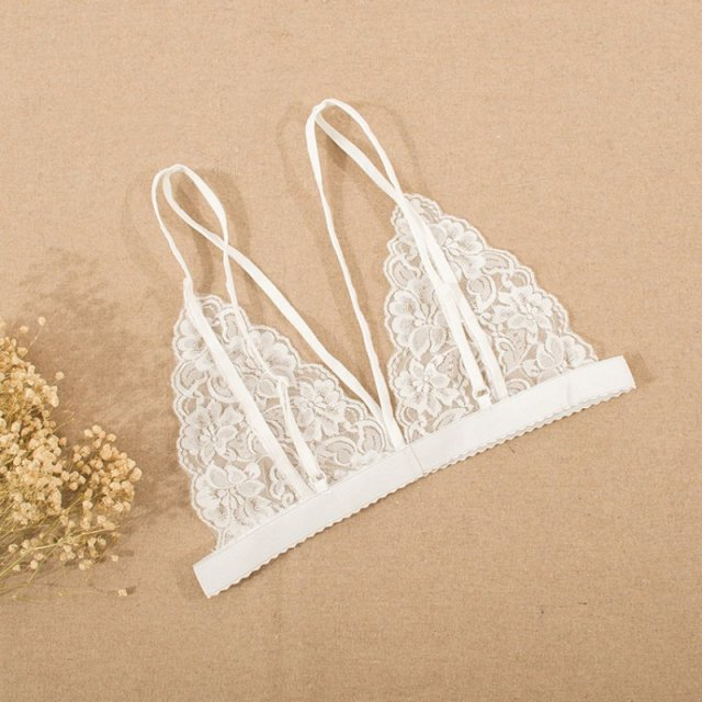 G34 Sexy Floral Lace Wire Bra Bustier Sheer Top Seamless Transparent Cup