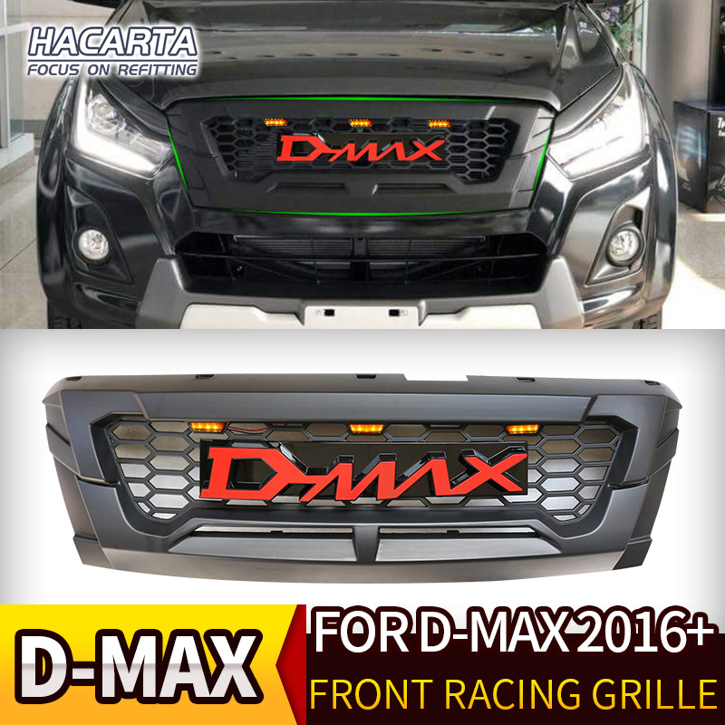 PARA ISUZU DMAX D-MAX 2016-2018 ABS PRETO FOSCO FRENTE CORRIDA GRILLE GRILLS AUTO ACESSÓRIOS FRONT BUMPER CAPA MÁSCARA FIT GRELHA